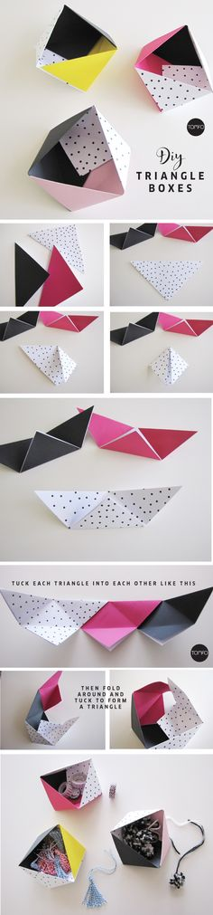 #DIY #Triangle #Box #Paper http://www.kidsdinge.com https://www.facebook.com/pages/kidsdingecom-Origineel-speelgoed-hebbedingen-voor-hippe-kids/160122710686387?sk=wall http://instagram.com/kidsdinge