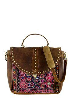 Studded+Leather+&+Vintage+Fabric+Laptop+Bag+by+Vintage+Addiction+on+@HauteLook