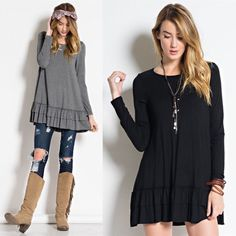 LIZBETH ruffle long sleeve top - BLACK LONG SLEEVE ROUND NECK, SOFT  HEAVY RAYON SPAN RUFFLE TUNIC,  CAN BE WORN UNDER A TOP AS A LAYERED LOOK.  Available in black, med grey & H. Grey.  Super soft & versatile. Great for layering, see pic 3. Good for all seasons. NO TRADE, PRICE FIRM Bellanblue Tops Tees - Long Sleeve
