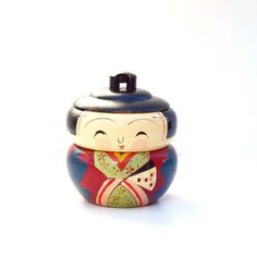 Vintage Kokeshi Doll jewelry jar stackable by #AGardenCottage#kokeshidoll #jewelrybox #stackable #organizer #Japanese #Japan #vintage