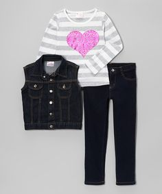 Take a look at this Gray Stripe Heart Pants Set - Toddler & Girls on zulily today!