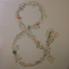 Floral ampersand canvas