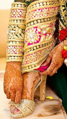 Indian bridal shoes with henna or mehendi design
