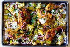 sheet pan chicken tikka masala from Smitten Kitchen Kitchen Recipes, Cooking Recipes, Healthy Recipes, Cooking Courses, Pan Cooking, Cooking Games, Cooking Ideas, Salad Recipes, Plats Healthy