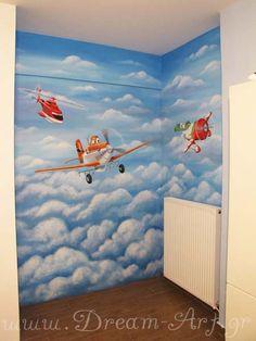 Ζωγραφική σε αγορίστικο παιδικό δωμάτιο με θέμα τα Planes Disney