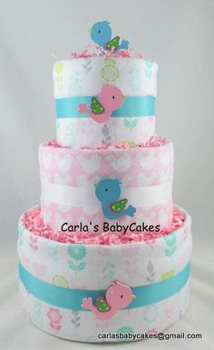 Bird diaper cake  Nesting baby shower  Girl by MsCarlasBabyCakes