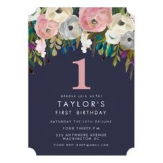 Grey Pink Floral First Girl Birthday Party Invitation