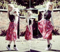 Charity Shop Top, Topshop Stripy Shorts, Diy/ Made Myself Skirt, Converse, My House Dog