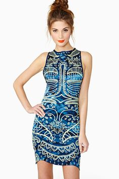 Lumeria Dress   Ah-mazing blue tie dye dress in a silk blend fabric featuring a mint abstract print and asymmetric hem.