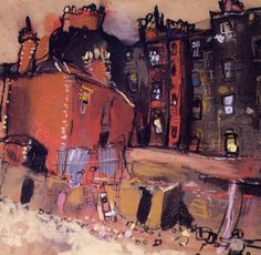 "Joan Eardley, ""Glasgow Tenement and Back Court,"" pastel on glasspaper (sandpaper), 8 x 10 in, Private Collection Illustrations, Illustration Art, Glasgow School Of Art, High Art, Urban Art, Urban Life, Landscape Art, Urban Landscape, Art And Architecture"