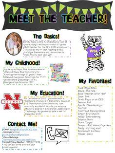 Meet the teacher bio such a cute idea kindergarten pinterest meet the teacher perfect for open house or the first days of school pronofoot35fo Choice Image