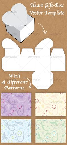 Vectors - Heart Shaped Gift Box template | GraphicRiver