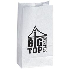 Unlined white paper bag with serrated cut top, side and bottom gussets; great for popcorn. Price includes one color, one location imprint. Imprint area - x Product Dimensions: x x Promotional Giveaways, Promotional Events, Custom Gift Bags, Customized Gifts, Popcorn Bags, Advertising Slogans, Quality Logo Products, Printed Bags, White Paper