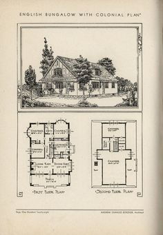 English Bungalow With Colonial Plan by Architect Andrew Charles Borzner.    The book of beautiful homes. by Andrew C. Borzner Published 1932    BookReaderImages.php (1213×1755)