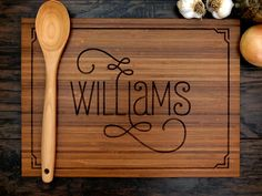 Personalized Wedding Gift, Custom Engraved Wood Cutting Board, Family Name With Border, Anniversary Gift, Bridal Shower Gift, Hostess Gift by WoodKRFT on Etsy https://www.etsy.com/listing/201674364/personalized-wedding-gift-custom