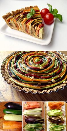 Vegetable Tart, Vegetable Dishes, Healthy Dinner Recipes, Vegetarian Recipes, Cooking Recipes, Good Food, Yummy Food, Food Decoration, Food Presentation