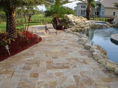 Miami Travertine - MARBLE VS TRAVERTINE IN MIAMI POOLS.Mediterranean travertine meets Miami water. It looks amazing. If you like what you see visit our website at www.miamitraverti... Exotic stones are our specialty.