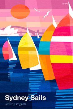 Sailing Regatta poster by Michael Crampton.