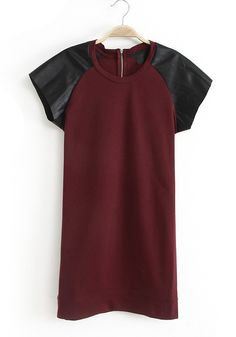 Wine Red Patchwork Below Knee Cotton Blend Dress