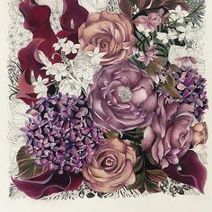 #floribunda #flowers #thefloweryear #etsystore #etsy #prismacolor #prismacolormarkers #flower