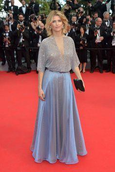 Alice Taglioni in a silver and blue Giorgio Armani gown at Cannes 2014