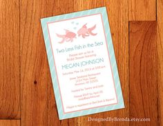 Large Bridal Shower Invitation  Two Less Fish by DesignedByBrenda
