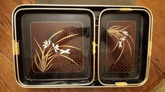Set of 3 vintage, lacquered nesting trays with a flower design by CnWsTexasTreasures on Etsy