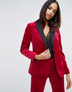 Buy it now. ASOS Sexy Velvet Blazer - Red. Blazer by ASOS Collection, Soft-touch velvet, Notch lapels, One button closure, Centre vent to reverse, Regular fit - true to size, Machine wash, 100% Polyester, Our model wears a UK 8/EU 36/US 4. ABOUT ASOS COLLECTION Score a wardrobe win no matter the dress code with our ASOS Collection own-label collection. From polished prom to the after party, our London-based design team scour the globe to nail your new-season fashion goals with need-right-now…