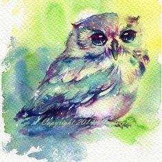 by Chatkomol Chirawattana #art #artist #draw #drawing #paint #painting #sketchbook #sketch #illustration #watercolor #owl