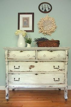 Shades of Blue Interiors: MMS Milk Paint in Ironstone with Hemp Oil Resist