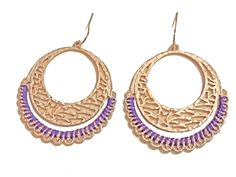 Threaded Star Hoops $12.95  Cut-out work design hammered gold texture hoops with purple thread accent. A little nod to vintage and alittle nod to bohochic, these earrings are perfect compliments to the current 70s fashion trends. #earrings #accessories #fashion #jewelry