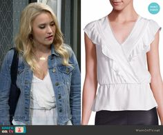f2a090fb969a Gabi s white ruffled top and denim jacket on Young and Hungry
