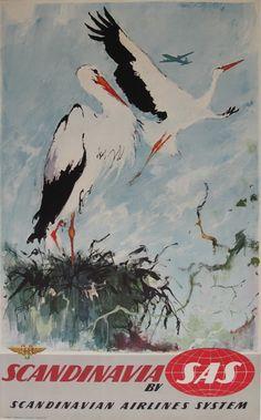 Vintage Travel Poster - Scandinavia - Stork - by Otto Nielsen (SAS). Sas Airlines, Systems Art, Vintage Travel Posters, Vintage Airline, Retro Posters, Poster Ads, Airline Travel, Sas Travel, Original Vintage