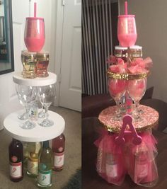 wine 21 birthday tower cake stand gift alcohol