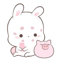 LINE Official Stickers - Happy Bunny Sweetness Example with GIF Animation Cute Love Gif, Cute Love Memes, Cute Kawaii Drawings, Kawaii Art, Cartoon Gifs, Cute Cartoon Wallpapers, Hug Gif, Cute Kawaii Animals, Cute Love Cartoons
