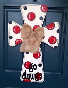 University of Georgia Wooden Cross Door Hanger