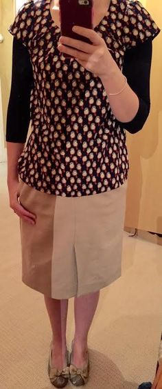 The Girl With Nothing to Wear: Print top, camel skirt, work style, spring style