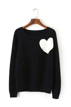 Black Heart Knitted Sweater