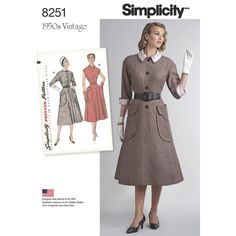 Misses' Vintage 1950s one-piece dress. View A has detachable contrast collar and cuffs with three-quarter sleeves, View B has collar and is sleeveless. Dress is trimmed with huge top-stitched patch pockets. Vintage Simplicity sewing pattern.