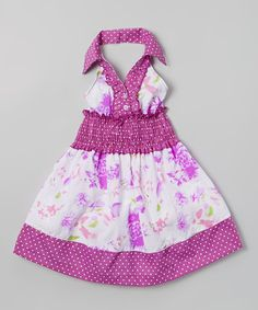 Look what I found on #zulily! Purple Floral& Polka Dot Halter Dress - Toddler & Girls by Lele for Kids #zulilyfinds