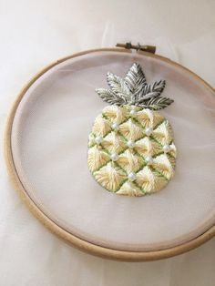 Pineapple Embroidery Pattern | Modern Hand Embroidery on the tulle Creative Embroidery, Modern Embroidery, Embroidery Hoop Art, Hand Embroidery Designs, Ribbon Embroidery, Embroidery Patterns, Embroidery Hearts, Cross Stitch Embroidery, Pineapple Embroidery
