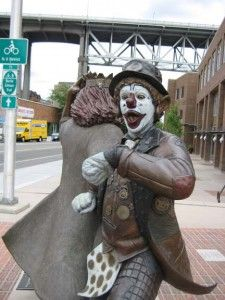 Sculpture of JP Patches, located in the Fremont District