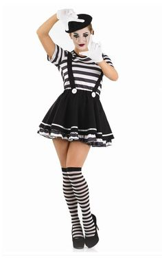 Adult-Mime-Artist-Fancy-Dress-Costume-Black-White-Street-Circus-French-Outfit