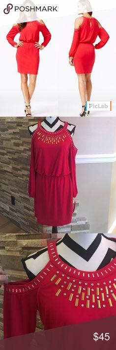 Thalia Sodi Studded Cold-Shoulder Bodycon Dress Red super cute dress for Christmas party. Thalia Soda Dresses Long Sleeve