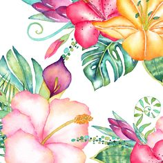 Watercolor Tropical Flowers Clipart, Monstera Clipart, Tropical Florals, Hibiscus Watercolor, Palm Leaves, Hawaii, Summer, Instant Download