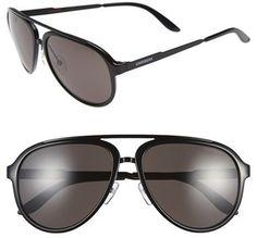 f0f66be77c3 Men s Carrera Eyewear 58mm Aviator Sunglasses - Shiny Black  Dark Grey  Carrera