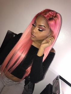 Women Pink Wigs Lace Front Hair Pink Hair Dark Ombre Pink Bob Pink And Blue Highlights – chiveral Pink Wig, Corte Y Color, Natural Hair Styles, Long Hair Styles, Hair Laid, Coloured Hair, Lace Hair, Silky Hair, Black Girls Hairstyles