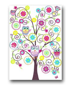 art for kids room kids wall art baby girl nursery room decor baby nursery print kids print girl print tree owls decoration violet rose - Kid Pictures To Print