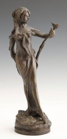 Art Nouveau Style Bronze, 20th c.,