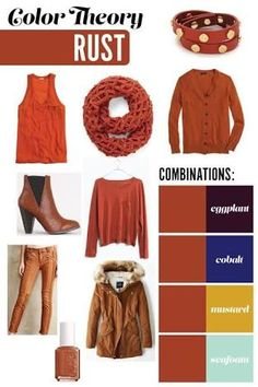 Pride and joyce color theory: rust eggplant, cobalt, mustard Color Combinations For Clothes, Color Combos, Look Fashion, Autumn Fashion, Fashion Outfits, Colored Pants Outfits, Orange Pants Outfit, Mustard Yellow Outfit, Wardrobe Color Guide